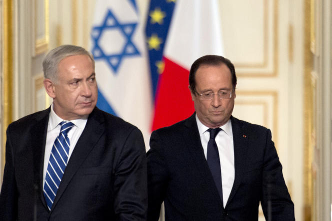 Le président, François Hollande, et le premier ministre israélien, Benjamin Nétanyahou, lors d'une conférence de presse, au Palais de l'Elysée, le 31 octobre 2012.