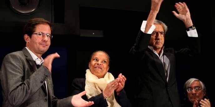 Le journaliste Alexis Lacroix (à gauche) et le philosophie Bernard-Henri Lévy ont, entre autres, exprimé leur soutien à la ministre de la justice, récemment visée par des attaques racistes.