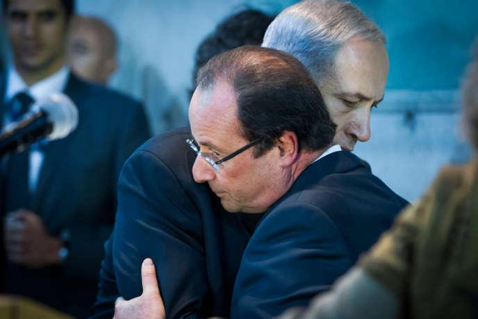 François Hollande et Benyamin Nétanyaou, à Tel-Aviv, dimanche 17 novembre.
