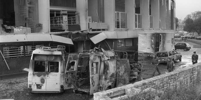 Le siège de Radio France, visé par un attentat d'Action directe, le 14 octobre 1985, alors que le groupe radiophonique avait invité Jean-Marie Le Pen, du Front national, à une émission.