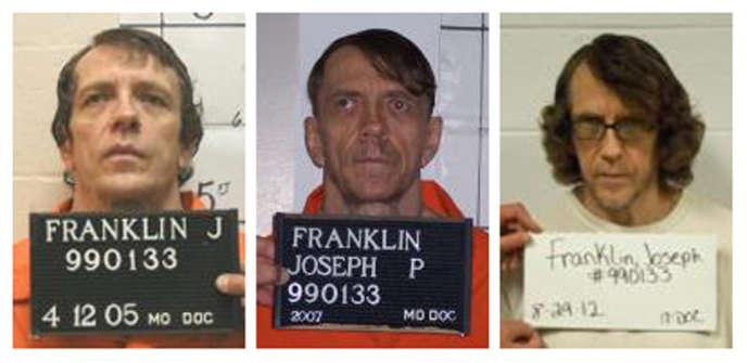 Photos de Joseph Paul Franklin en 2005, 2007 et 2012.