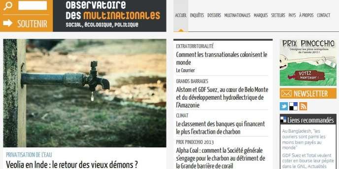 Page d'accueil de l'Observatoire des multinationales.