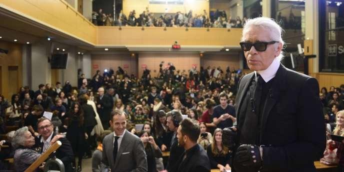 Karl Lagerfeld, à Sciences Po, mardi 19 novembre 2013.