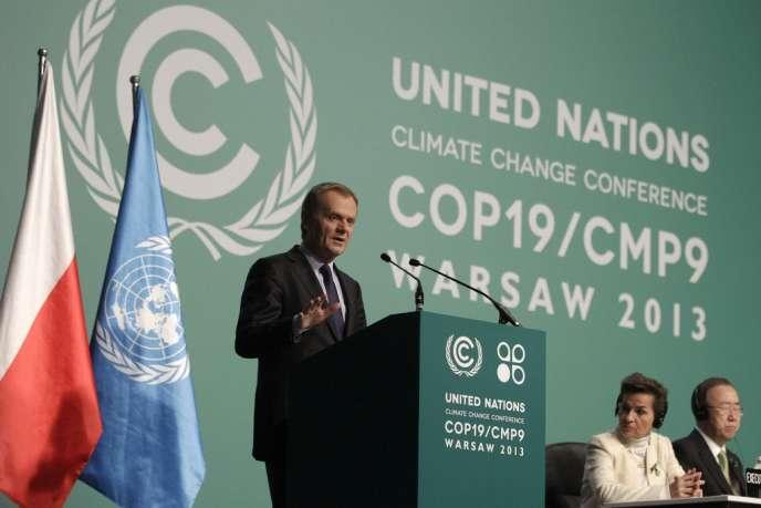 Le premier ministre polonais, Donald Tusk, le 19 novembre lors de l'accueil des ministres de l'environnement à Varsovie.
