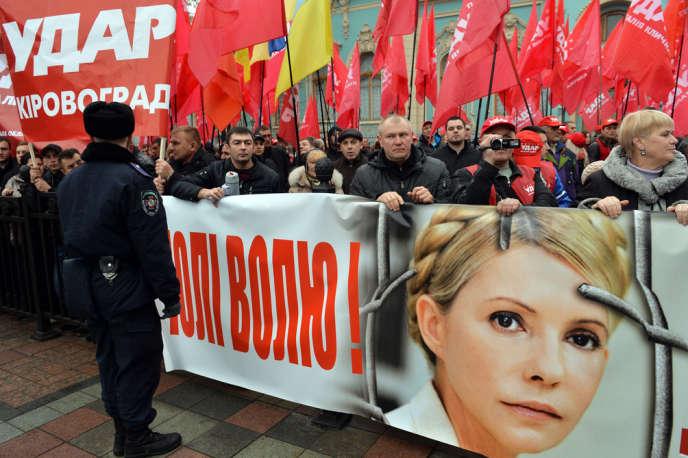Manifestation de soutien en faveur de Ioulia Timochenko, figure de l'opposition ukrainienne, le 7 novembre à Kiev.