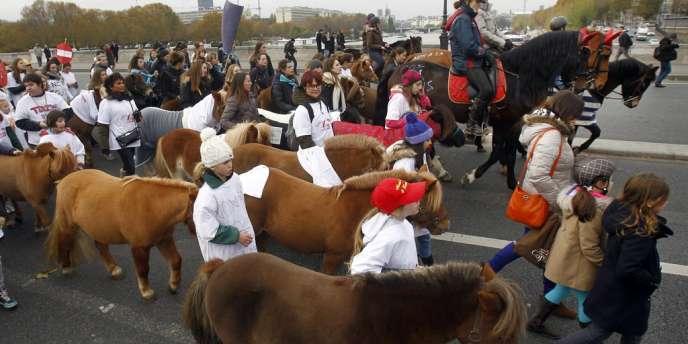 Les propriétaires de poneys et de chevaux ont investi Paris le 24 novembre pour défendre une TVA réduite sur les activités de la filière équestre.
