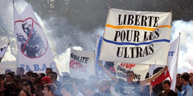 Une manifestation d'ultras, le 13 octobre 2012 à Montpellier.