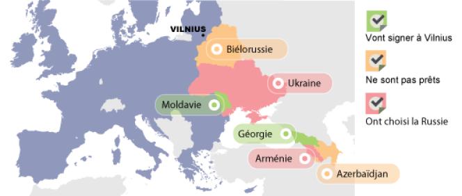 Les pays présents au sommet de Vilnius