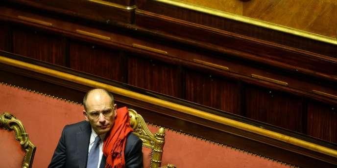 Le premier ministre italien Enrico Letta lors du vote de confiance du Sénat le 26 novembre.