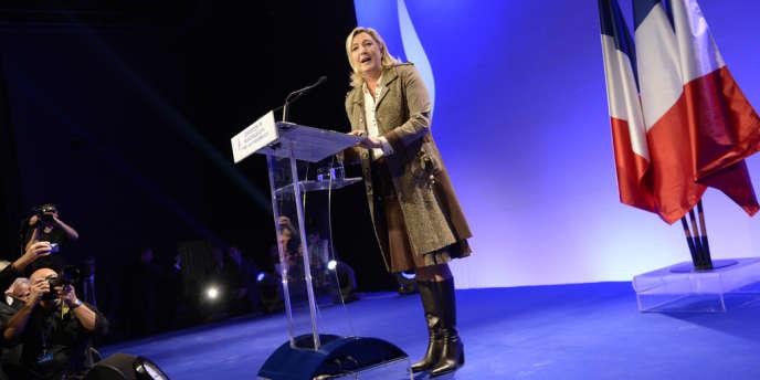 Marine Le Pen lors d'un meeting à Paris, le 17 novembre.