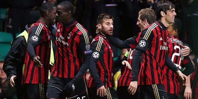 Les joueurs de l'AC Milan après leur second but sur le terrain du Celtic Glasgow, le 26 novembre.