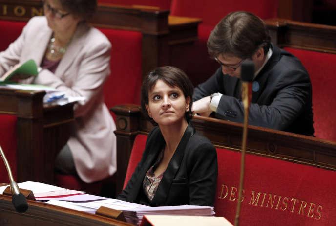La ministre des droits des femmes, Najat Vallaud-Belkacem, lors du débat sur la loi sur la prostitution, le 29 novembre, à l'Assemblée nationale.