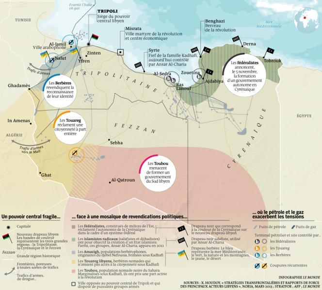 Carte de la Libye, en voie d'éclatement.