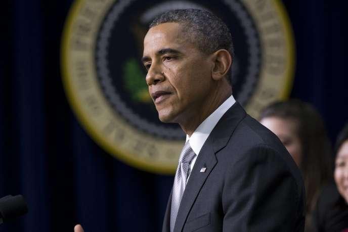 Barack Obama lors de son discours sur sa réforme de l'assurance-maladie, mardi.