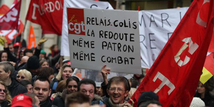 Lors d'une manifestation des employés de La Redoute, le 21 novembre 2013, à Paris.