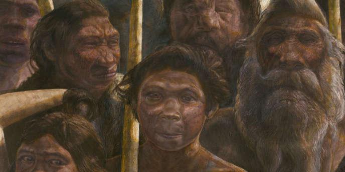 Vue d'artiste des hominidés vivant à Atapuerca (Espagne) il y a 400 000 ans.