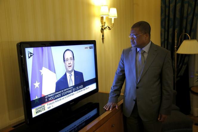 Le premier ministre centrafricain, Nicolas Tiangaye, à Paris, jeudi 5 décembre.