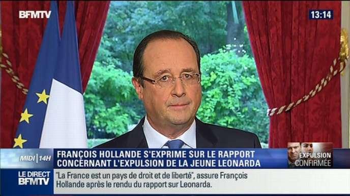 Intervention de François Hollande, samedi 19 octobre, sur l'affaire Leonarda, jeune lycéenne expulsée au Kosovo.