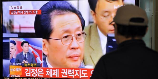 L'oncle de Kim Jong-un à la télévision à Séoul, en Corée du Sud, le 3 décembre.
