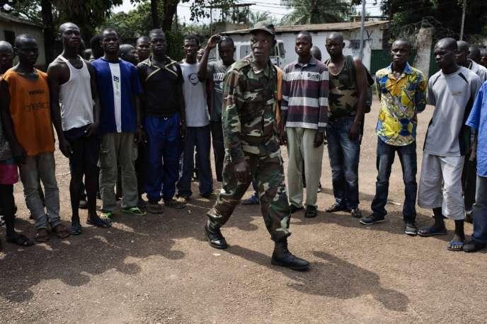 Après le début du déŽsarmement des soldats de l'ex-Séléka, une revue de troupes est organisŽée pour les journalistes.