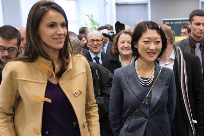 Aurélie Filippetti et Fleur Pellerin en avril 2013, lors de la visite des locaux de l'éditeur de jeux vidéo Quantic Dream.