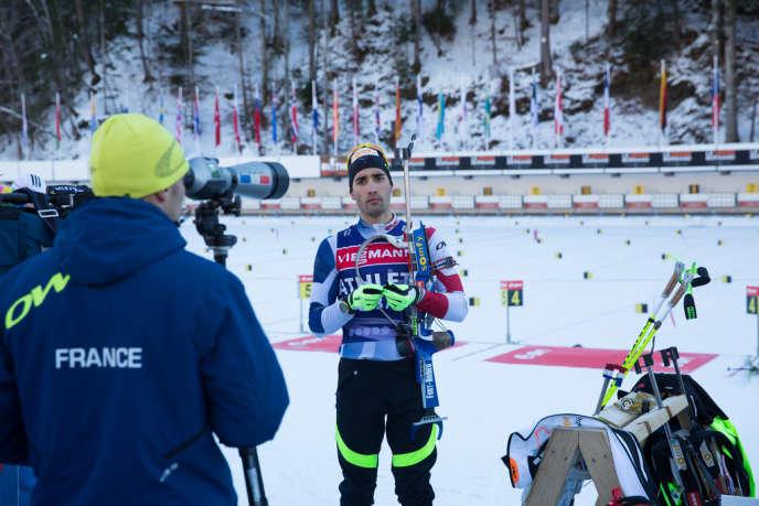 Martin Fourcade, lors d'un entraînement sur le site de la Coupe du monde de biathlon au Grand-Bornand (Haute-Savoie) le 11 décembre.