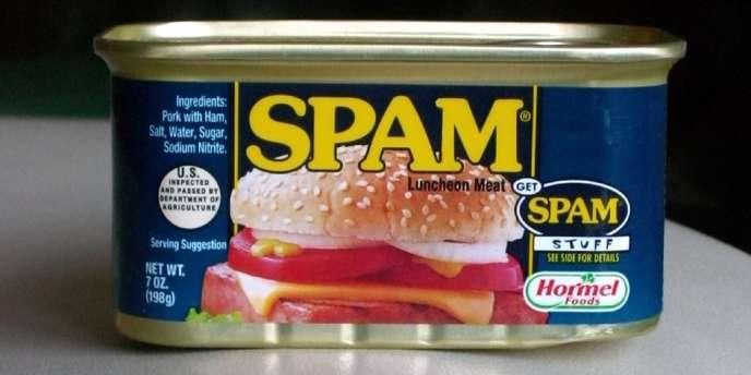 """« Aussi appelé pourriel, le spam est à l'origine une marque anglaise de corned-beef. Plus précisément, SPAM est un acronyme pour """"Spiced Pork And Meat"""" (pâté épicé à base de porc et de viande) »."""