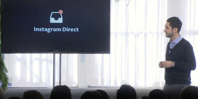 Kevin Systrom, cofondateur d'Instagram, pendant la conférence de presse du 12 décembre.