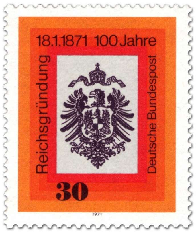 Le 18 janvier 1871, le IIe Reich allemand fut proclamé par Bismarck dans la Galerie des glaces du château de Versailles. Timbre allemand (RFA) paru en 1971.