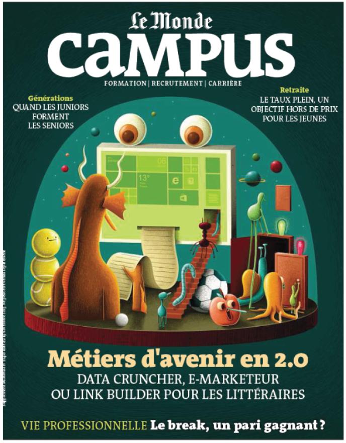 Le Monde Campus, semestriel des jeunes diplômés à l'entrée du marché du travail (illustration: Nicolas Barrome).
