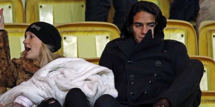 Radamel Falcao et sa femme dans les tribunes de Louis II le 30 novembre.