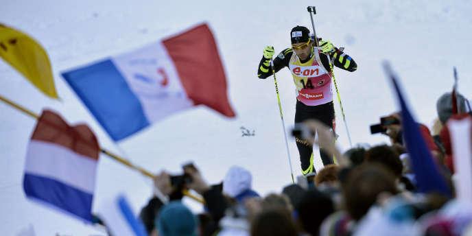 Le numéro un mondial Martin Fourcade, pendant le 10 km sprint, samedi au Grand Bornand.