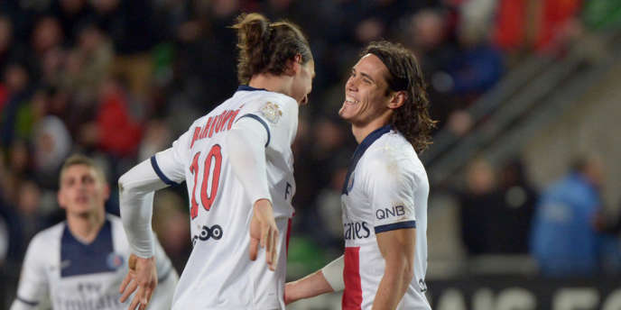 Les deux attaquants stars du PSG, Zlatan Ibrahimovic et Edinson Cavani, samedi sur le terrain de Rennes.