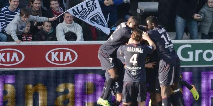 Obraniak et quelques Girondins, dimanche 15 décembre au stade Chaban-Delmas.
