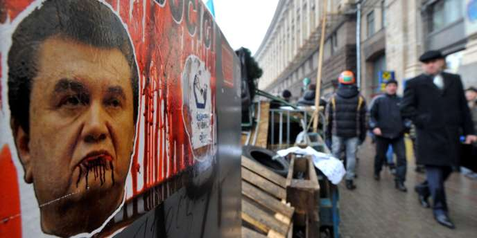 Portrait du président ukrainien Viktor Ianoukovitch dans les rues de Kiev, le 16 décembre 2013.