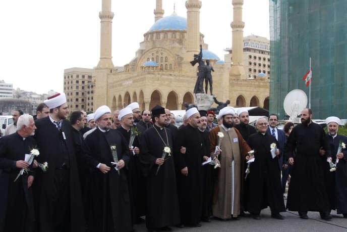 Des responsables des communautés religieuses musulmane et chrétiennes à Beyrouth, au Liban, en avril 2013. Depuis la guerre, de nombreux Syriens sont réfugiés au Liban et en Jordanie.