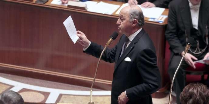 Laurent Fabius lors de son intervention à propos de la République centrafricaine à l'Assemblée nationale, mardi 17 décembre.