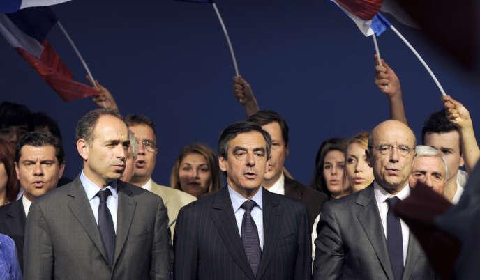 Jean-François Copé, François Fillon et Alain Juppé en mai 2012 à Bordeaux.