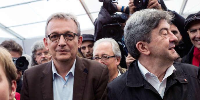 Pierre Laurent (PCF) et Jean-Luc Mélenchon (PG) à la Fête de «L'Humanité», le 13 septembre.