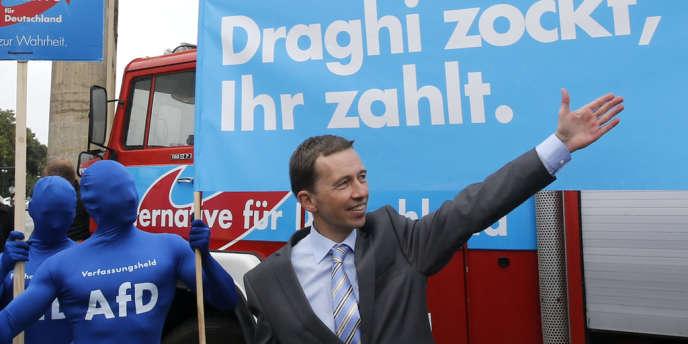 Meeting de Bernd Lucke, chef de file du parti anti-européen Alternative pour l'Allemagne, le 16 septembre, à Berlin.