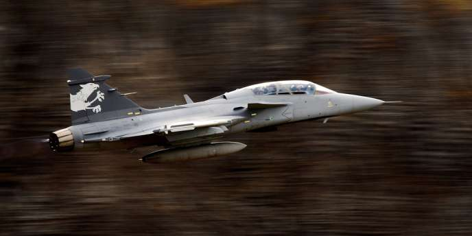Un Gripen NG du suédois Saab lors d'une démonstration de l'armée de l'air suisse, en octobre 2012.