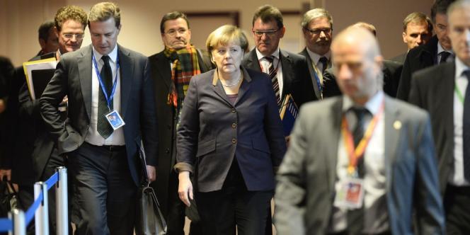 Angela Merkel à Bruxelles après le conseil européen du jeudi 19 décembre 2013.