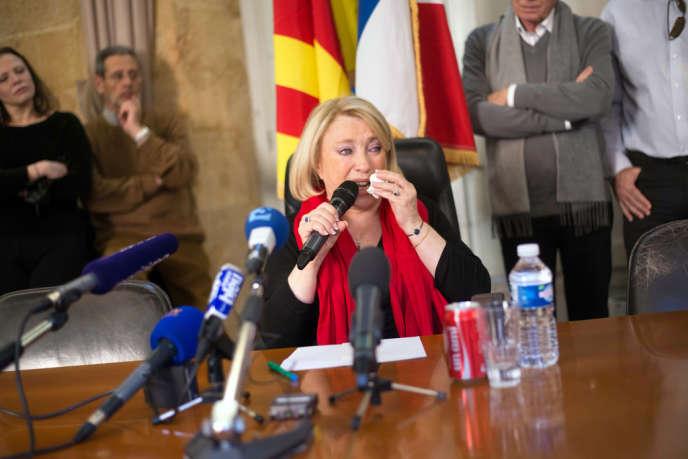 Maryse Joissains-Masini lors de sa conférence de presse à la mairie d'Aix-en-Provence, vendredi 27 décembre, suite à sa garde à vue de la veille.