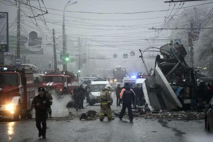 A Volgograd, sur le site de l'attentat du trolley bus, le 30 décembre.