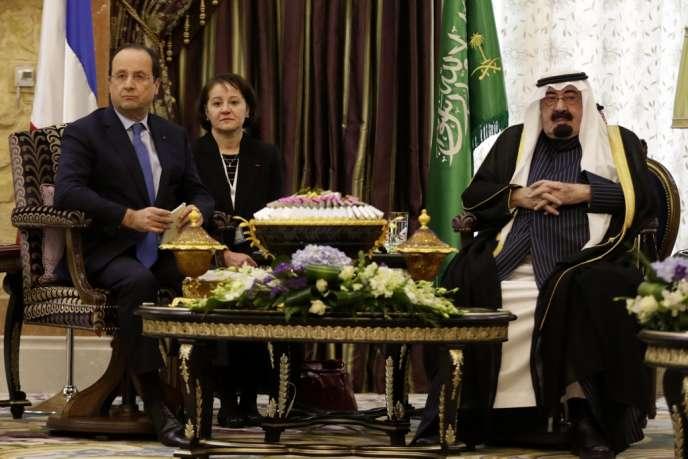 François Hollande et le roi Abdallah, le 29 décembre 2013 à Riyad.