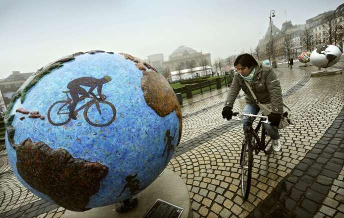 A Copenhague, en 2009, lors d'une exposition mettant en garde contre le changement climatique.