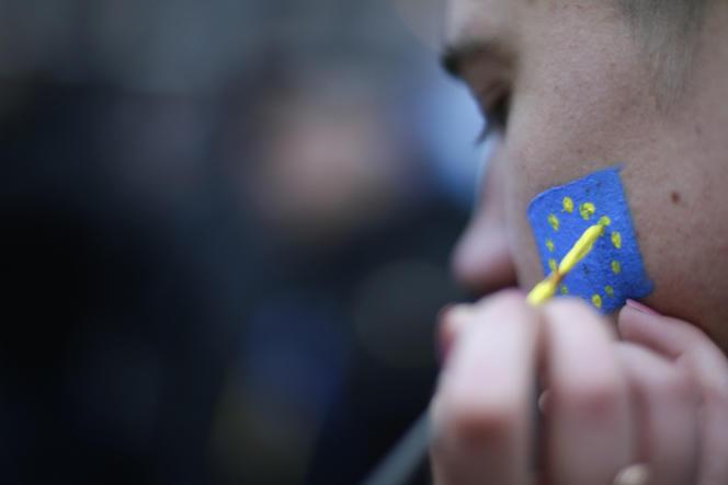 Sur la place de l'Indépendance, à Kiev, lors d'une des manifestations pro-européennes en Ukraine, en novembre 2013.