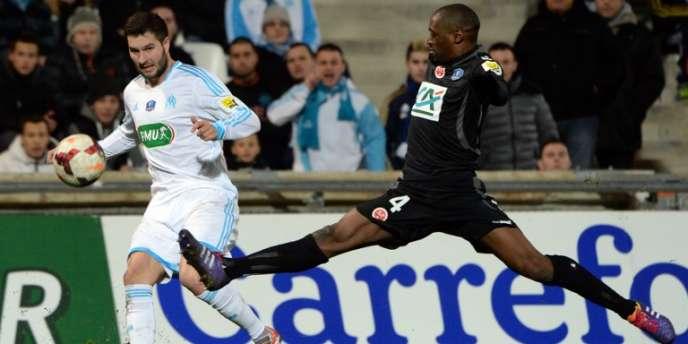 André-Pierre Gignac de l'OM et Mohamed Fofana de Reims le 5 janvier en Coupe de France à Marseille.