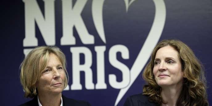 Nathalie Kosciusko-Morizet (à droite) avec la vice-présidente du Modem, Marielle de Sarnez, avec qui elle a fait alliance pour les municipales à Paris, lundi 6 janvier.
