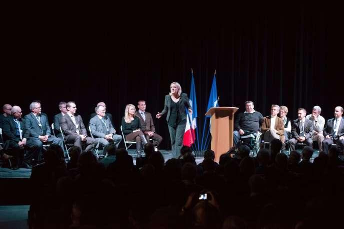 Marine Le Pen lors d'un meeting à Mazan (Vaucluse), le 30 novembre 2013.